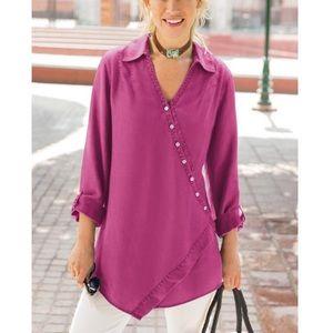 Soft surroundings- washed tencel tunic top 2AH51